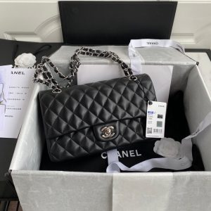 Chanel A01112 CF Quilted Classic Flap Bag in Grainy Lambskin Black