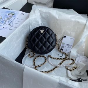 Chanel AS1898 Small Round Bag Shiny B03446 Lambskin black