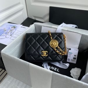 Chanel AS2222 Flap Bag With Charm Chain Lambskin Black