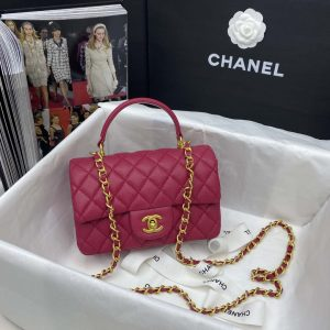 chanel AS2431 mini flap bag with top handle Grained Calfskin